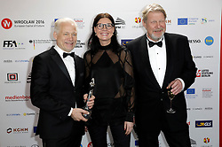 December 10, 2016 - Wroclaw, Lower Silesian, Deutschland - Director Hannes Holm, producer Annica Bellander Rune and Rolf Lassgard attend the 29th European Film Awards 2016 at the National Forum of Music on December 10,2016 in Wroclaw, Poland. (Credit Image: © Future-Image via ZUMA Press)