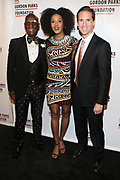 NEW YORK, NEW YORK-JUNE 4: (L-R) Designer Dapper Dan, Actress Sarah Jones and Peter W. Kunhardt, Jr., Executive Director, Gordon Parks Foundation attend the 2019 Gordon Parks Foundation Awards Dinner and Auction Red Carpet celebrating the Arts & Social Justice held at Cipriani 42nd Street on June 4, 2019 in New York City.  (photo by terrence jennings/terrencejennings.com)