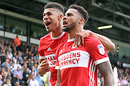 Cyrus Christie of Middlesbrough (R) is mobbed by Ashley Fletcher of Middlesbrough (L) as they celebrate after he scores his team's first goal.  EFL Skybet championship match, Fulham v Middlesbrough at Craven Cottage in London on Saturday 23rd September 2017<br /> pic by Steffan Bowen, Andrew Orchard sports photography.