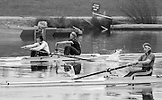 Staines, GREAT BRITAIN,   <br /> Women's Pair GBR W2- left Stroke Kim THOMAS and Alison BONNER,  Sue SMITH<br /> British Rowing Women's Heavy Weight Assessment. Thorpe Park. Sunday 21.02.1988,<br /> <br /> [Mandatory Credit, Peter Spurrier / Intersport-images] 1987 GBR Women's H/Weight Assesment Thorpe Park, Surrey.UK