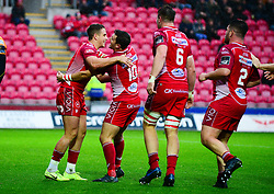 Kieran Hardy of Scarlets celebrates scoring a try with team mates - Mandatory by-line: Dougie Allward/JMP - 02/11/2019 - RUGBY - Parc y Scarlets - Llanelli, Wales - Scarlets v Toyota Cheetahs - Guinness PRO14