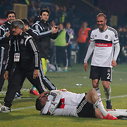 Besiktas's players celebrate victory during their Turkish superleague soccer match Besiktas between Kardemir Karabukspor at Osmanli Stadium in Ankara Turkey on Monday 27 April 2015. Photo by Kurtulus YILMAZ/TURKPIX