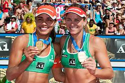 Gold medalists Juliana Felisberta Silva and Larissa Franca of Brazil at A1 Beach Volleyball Grand Slam tournament of Swatch FIVB World Tour 2010, final, on July 31, 2010 in Klagenfurt, Austria. (Photo by Matic Klansek Velej / Sportida)