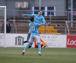 Forfar Athletic's Dale Hilson scoring their first goal. half time : Forfar Athletic 3 v 0 East Fife, Scottish Football League Division One game played 2/3/2019 at Forfar Athletic's home ground, Station Park, Forfar.