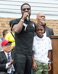 Kevin Hart is honored with 'Kevin Hart Day' birthday celebration and mural dedication by Mural Arts Philadelphia. The event was held outside of Max's Steaks in North Philadelphia, Pennsylvania where he grew up. 06 Jul 2017 Pictured: Kevin Hart, Hendrix Hart. Photo credit: MEGA TheMegaAgency.com +1 888 505 6342
