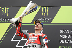 June 17, 2018 - Montmelo, Catalunya, Spain - Jorge LORENZO of Spain and Ducati Team competes celebrates victory on the podium during Gran Premi Monster Energy de Catalunya (Grand Prix of Catalunya), MotoGP race, on June 17, 2018 at the Catalunya racetrack in Montmelo, near Barcelona, Spain (Credit Image: © Manuel Blondeau via ZUMA Wire)