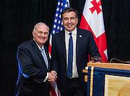 Left to right  - President of George Washington University, Steven Knapp & Former President of Georgia, Mikheil Saakashvili