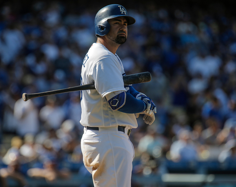 Aug 28 2016 - Los Angeles U.S. CA - LA Dodgers 1B Adrian Gonzalez hit a soft grounder to the left side, away from the shifted Cubs' defense. Javier Baez stumbled backward to field it and made a casual throw to late-arriving second baseman Ben Zobrist. Umpires ruled a sliding Seager beat Zobrist to the bag, allowing Toles to score, and a review upheld the call. During the MLB game between LA Dodgers and the Chicago Cubs 1-0 win at Dodgers Stadium Los Angeles Calif. Thurman James / CSM