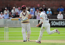 Mark Wood of Durham celebrates the wicket of Jim Allenby.  - Mandatory by-line: Alex Davidson/JMP - 05/08/2016 - CRICKET - The Cooper Associates County Ground - Taunton, United Kingdom - Somerset v Durham - County Championship - Day 2