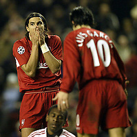 Fotball<br /> Champions League 2004/05<br /> Liverpool v Bayer Leverkusen<br /> 22. febuar 2005<br /> Foto: Digitalsport<br /> NORWAY ONLY<br /> Milan Baros cant Beleive Liverpool have missed a chance to score