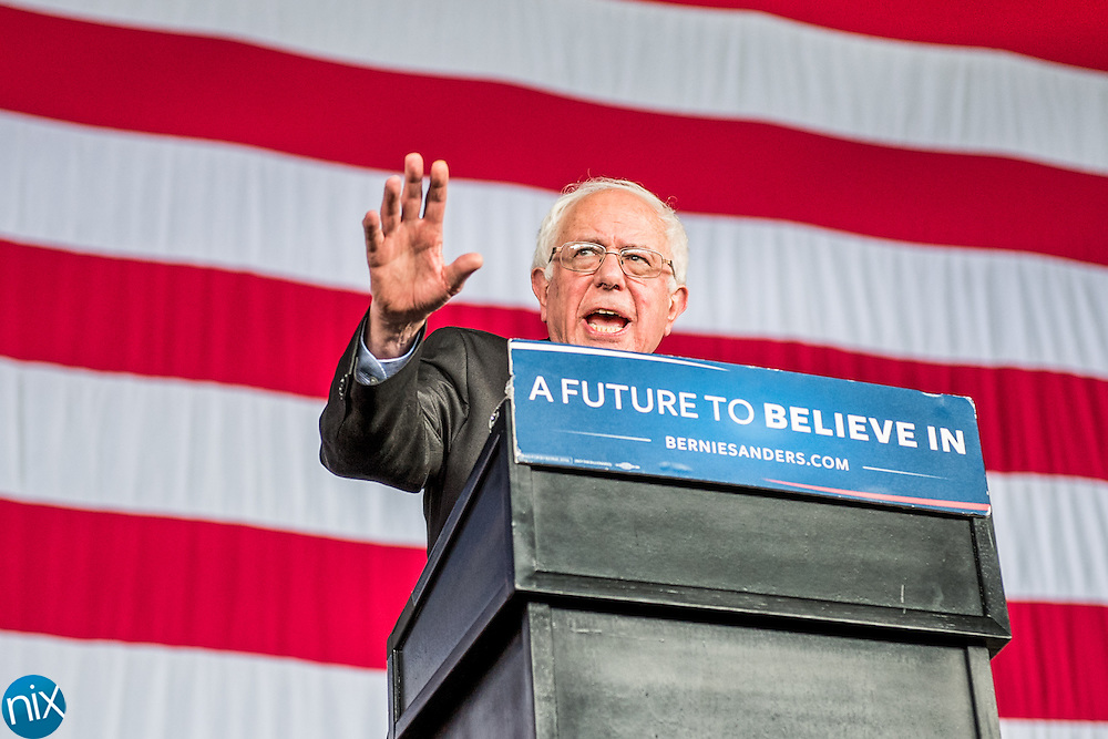 Democratic presidential candidate Sen. Bernie Sanders speaks during a rally at the PNC Music Pavilion in Charlotte Monday afternoon.