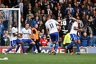 Craig Morgan of Wigan Athletic (20) shoots and scores his teams 2nd goal. Skybet football league one match , Bury v Wigan Athletic at the JD Stadium in Bury, Lancs on Saturday 10th October 2015.<br /> pic by Chris Stading, Andrew Orchard sports photography.