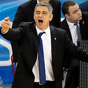 Anadolu Efes's coach Oktay Mahmuti during their Turkish Airlines Euroleague Basketball playoffs Game 3 Anadolu Efes between Olympiacos at Abdi ipekci Arena in Istanbul, Turkey, Wednesday, April 17, 2013. Photo by Aykut AKICI/TURKPIX