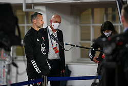 HELSINKI, FINLAND - Thursday, September 3, 2020: Wales' manager Ryan Giggs is interviewed before the UEFA Nations League Group Stage League B Group 4 match between Finland and Wales at the Helsingin Olympiastadion. (Pic by Jussi Eskola/Propaganda)