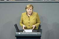 11 FEB 2021, BERLIN/GERMANY:<br /> Angela Merkel, CDU, Bundeskanzlerin, waehrend ihrer  Regierungserklaerung zur Bewaeltigung der Corvid-19-Pandemie, Plenum, Reichstagsgebaeude, Deutscher Bundestag<br /> IMAGE: 20210211-01-030<br /> KEYWORDS: Corona