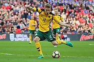 Vykintas Slivka of Lithuania shoots at goal during the FIFA World Cup Qualifier group stage match between England and Lithuania at Wembley Stadium, London, England on 26 March 2017. Photo by Matthew Redman.