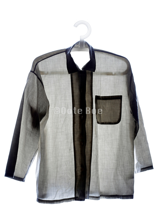 casual hanging fashionable button down shirt front view