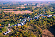 Sunrise aerial image over Seneca, Crawford County, Wisconsin on a beautiful morning.