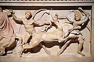 Greek relief sculpture of a hunt  on Alexander The Great ( Alexander III of Macedon )4th Cent BC. Sarcophagus calved from Pentelic Marble from the Royal Necropolis of Sidon, Chamber no.III, Lebanon. Istanbul Archaeological Museum Inv. 370T Cat. Mendel 68 .<br /> <br /> If you prefer to buy from our ALAMY STOCK LIBRARY page at https://www.alamy.com/portfolio/paul-williams-funkystock/greco-roman-sculptures.html- Type -    Istanbul    - into LOWER SEARCH WITHIN GALLERY box - Refine search by adding a subject, place, background colour, museum etc.<br /> <br /> Visit our CLASSICAL WORLD HISTORIC SITES PHOTO COLLECTIONS for more photos to download or buy as wall art prints https://funkystock.photoshelter.com/gallery-collection/The-Romans-Art-Artefacts-Antiquities-Historic-Sites-Pictures-Images/C0000r2uLJJo9_s0c