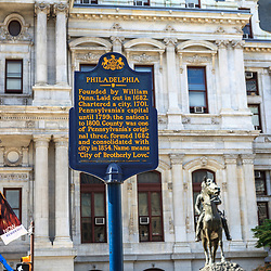 Philadelphia, PA, USA - August 13, 2011: A historic marker at City Hall.
