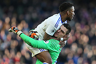 Sunderland goalkeeper Vito Mannone & Jermain Defoe of Sunderland celebrate after Defoe scores their third goal. Premier League match, Crystal Palace v Sunderland at Selhurst Park in London on Saturday 4th February 2017. pic by Steffan Bowen, Andrew Orchard sports photography.