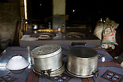 Pots and pans sit around the kitchen of the abandoned elder shelter at the Chua Dieu Vien Pagoda, Hue Vietnam.  Photo by Stan Olszewski/SOSKIphoto