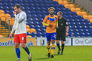 GOAL 2 -1 Nicky Maynard of Mansfield Town (22) scores the winning goal during the The FA Cup match between Mansfield Town and Dagenham and Redbridge at the One Call Stadium, Mansfield, England on 29 November 2020.