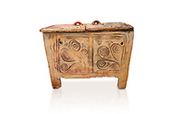 Minoan  pottery larnax coffin chest with fstylised floral decorations,  Episkopi-Lerapetra 1350-1250 BC, Heraklion Archaeological  Museum, white background. .<br /> <br /> If you prefer to buy from our ALAMY PHOTO LIBRARY  Collection visit : https://www.alamy.com/portfolio/paul-williams-funkystock/minoan-art-artefacts.html . Type -   Heraklion   - into the LOWER SEARCH WITHIN GALLERY box. Refine search by adding background colour, place, museum etc<br /> <br /> Visit our MINOAN ART PHOTO COLLECTIONS for more photos to download  as wall art prints https://funkystock.photoshelter.com/gallery-collection/Ancient-Minoans-Art-Artefacts-Antiquities-Historic-Places-Pictures-Images-of/C0000ricT2SU_M9w