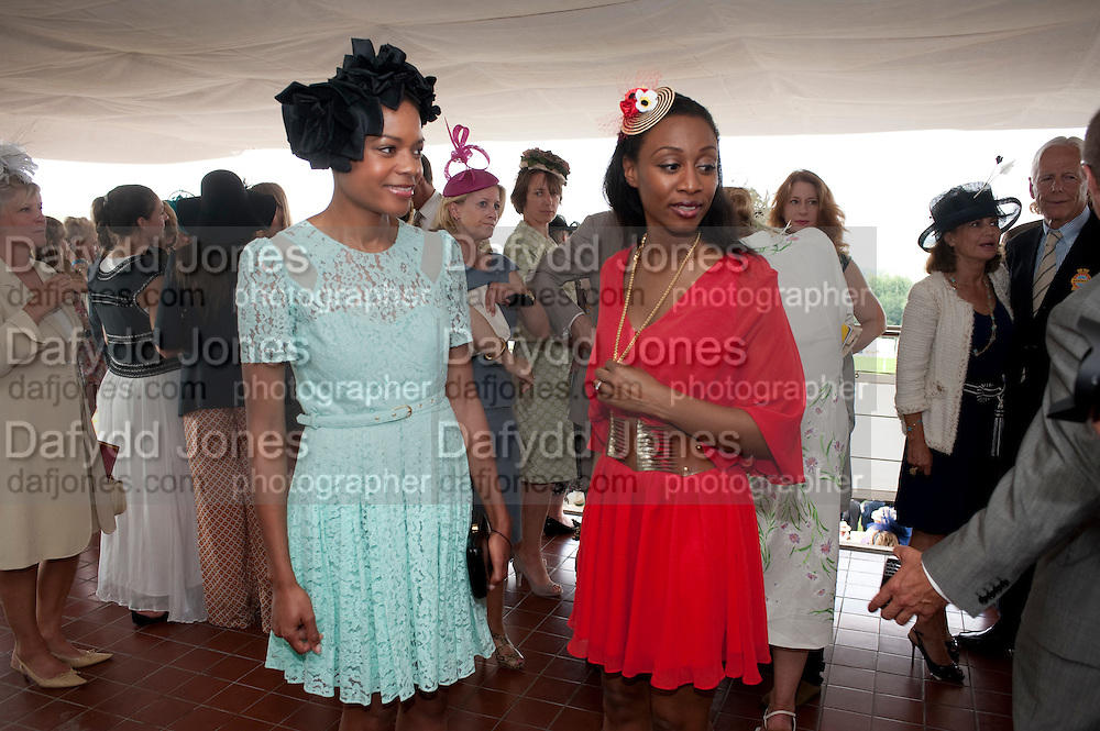 NAOMI HARRIS;  BEVERLEY KNIGHT,  IN THE DUKE OF RICHMOND BOX, Glorious Goodwood. Ladies Day. 28 July 2011. <br /> <br />  , -DO NOT ARCHIVE-© Copyright Photograph by Dafydd Jones. 248 Clapham Rd. London SW9 0PZ. Tel 0207 820 0771. www.dafjones.com.