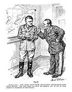 "TACT. General Goring. ""Now, Adolf - About those 'Air Locarno' conversations with Great Britain: The one thing we must be careful NOT to say is that GERMANY'S frontier is not the THAMES."""