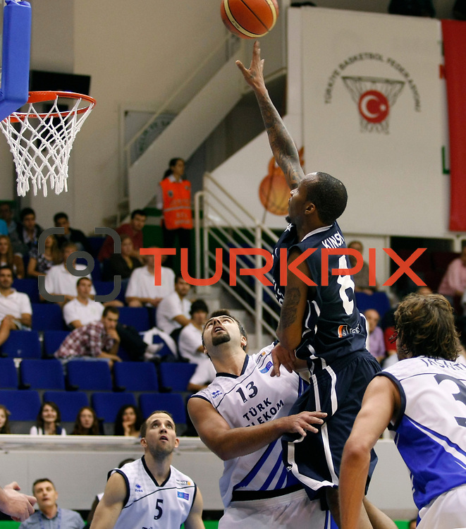 Anadolu Efes's Terence KINSEY (2ndR) during their Turkey Cup Qualifying basketball first match Anadolu Efes between Turk Telekom at Aliaga Arena in Izmir, Turkey, Sunday, October 9, 2011. Photo by TURKPIX