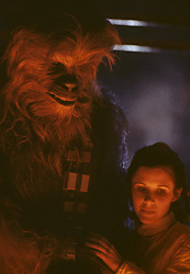 CARRIE FRANCES FISHER (October 21, 1956 - December 27, 2016) the actress best known as Star Wars' Princess Leia Organa, has died after suffering a heart attack. She was 60. Pictured: April 30, 1979 - London, United Kingdom, U.S. - Chewbacca & Princess Leia - Star Wars The Empire Strikes Back (Credit Image: © Lynn Goldsmith via ZUMA Press)