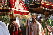 Ethiopian priest carries the tabot, a replica of the tablets of the biblical Ten Commandments during Timkat, the Ethiopian Orthodox celebration of the Epiphany, Christian feast day celebrating the revelation of the human and divine nature of Jesus Christ, at the Church of Our Lady Mary of Zion located in the ancient city of Axum in Ethiopia