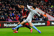 Joshua King (17) of AFC Bournemouth is challenged by Felipe Anderson (8) of West Ham United during the Premier League match between Bournemouth and West Ham United at the Vitality Stadium, Bournemouth, England on 19 January 2019.