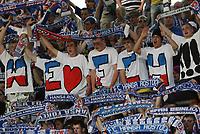Fotball<br /> Bundesliga Tyskland<br /> 10.05.2008<br /> Foto: Witters/Digitalsport<br /> NORWAY ONLY<br /> <br /> Fans Hansa, We love FCH<br /> Bundesliga Hansa Rostock - Bayer 04 Leverkusen 1:2