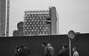 Londoners going to the Nine Elms market, New American Embassy in Nine Elms in background, 14 January 2018,