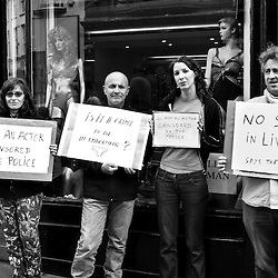 On Monday, during Streets Ahead, there were some complaints about the performers on Bold Street.  The shop window people had been censored.  They all protested as best they could.  The guy on the right is the leader of their group.  He had previously been walking around town in a loin cloth.  The girl in the middle was the lingerie model from the other day.  Crazy to think that you can't have a girl sit in her underwear in a lingerie shop window.