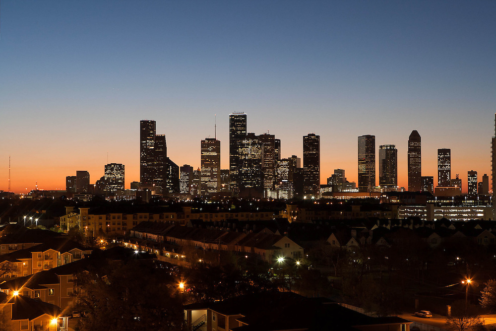 Houston, Texas skyline at sunset from west.