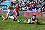 Max Deegan of Ireland dives over to score his teams 2nd  try in the 1st half.  World Rugby U20 Championship 2016,  Semi Final match,  Match 23  , Ireland U20's  v Argentina U20's at the Manchester city Academy Stadium in Manchester, Lancs on Monday 20th June 2016, pic by  Andrew Orchard, Andrew Orchard sports photography.