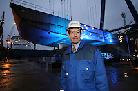 Royal Caribbean International 'Project Genesis' keel laying ceremony in Turku, Finland....The worlds largest cruise ship, currently known as Project Genesis ,  has it's first segment layed in dry Dock in Turku Finland today. The ship is due to be compleated in autumn 2009 and will be 40% bigger than the current world largest cruise ship also owned by Royal Caribbean International...Adam Goldstein President and CEO Royal Caribbean International, infront of the first segment of Project Genesis to be laid in the dry dock in Turku, Finland..