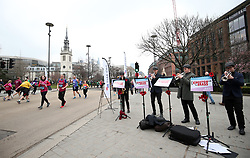 Runners go past the Kingston Brass during the 2018 London Landmarks Half Marathon