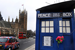 Peace protesters camp out in an old police box opposite the Houses of Parliament, London.16th March 2012