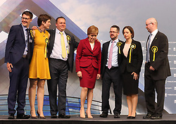 First Minister Nicola Sturgeon with her newly elected MPs (left-right)David Linden, Alison Thewliss, Chris Stephens, Nicola Sturgeon, Stuart McDonald, Carol Monaghan and Patrick Grady at the Emirates Arena in Glasgow.