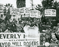 12/21/1926 Will Rogers (by scroll) during the ceremony when Beverly Hills made him its honorary mayor