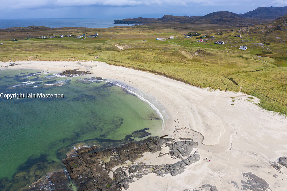 Aerial view of Sanna beach on Ardnamurchan Peninsula , Highland Region, Scotland, UK