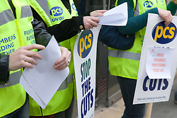 Union members demonstrating during strike action in Nottingham City Centre,