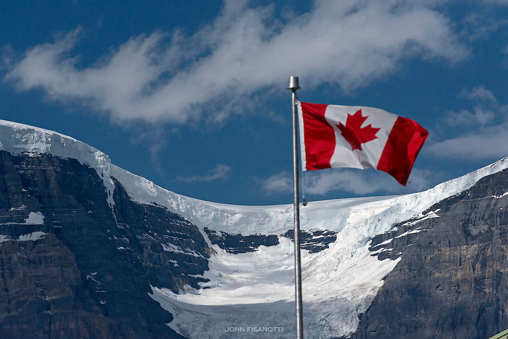 Canadian Maple Leaf Flag Flies over the Columbia Icefield