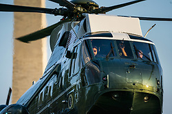 Marine One ferries U.S. President Donald J. Trump to the South Lawn from a weekend stay in Bedminster, New Jersey at the White House in Washington, DC, USA, 29 July 2018. Earlier in the day, the President once again went after the media on Twitter, calling them the 'enemy of the people.'