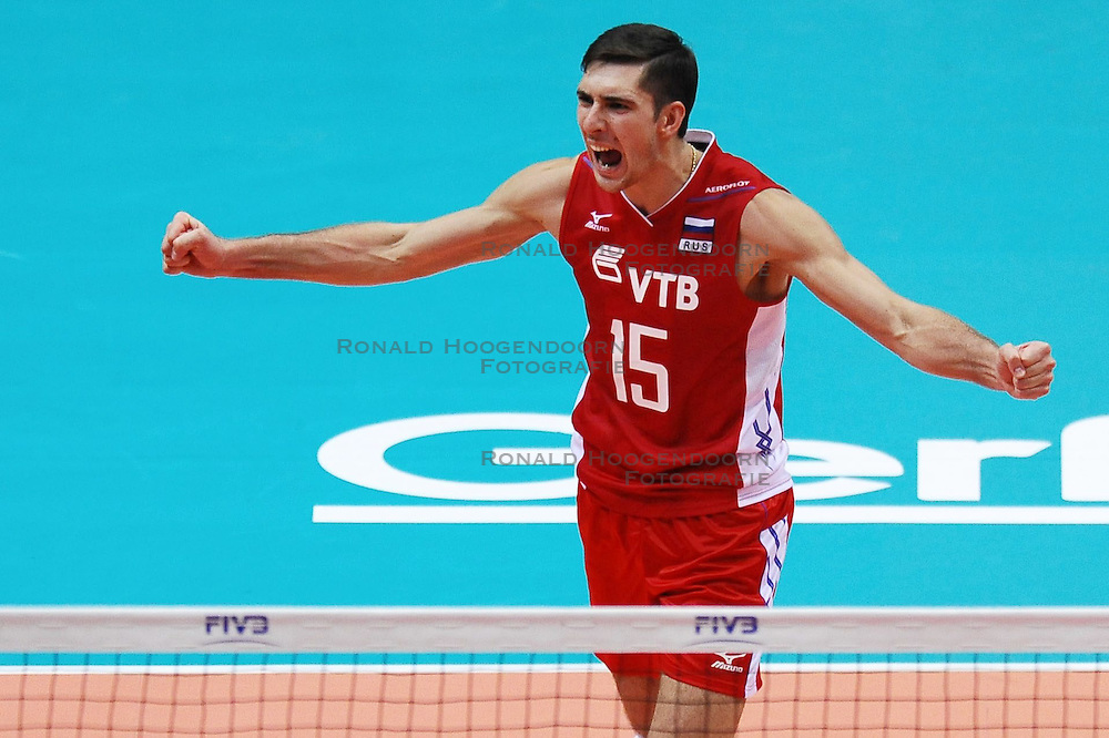 07.09.2014, Ergo Arena, Danzig, POL, FIVB WM, Russland vs Bulgarien, Gruppe C, im Bild DMITRIY ILINYKH // during the FIVB Volleyball Men's World Championships Pool C Match beween Russia and Bulgaria at the Ergo Arena in Danzig, Poland on 2014/09/07. <br /> <br /> ***NETHERLANDS ONLY***