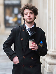 © Licensed to London News Pictures; 02/03/2021; Bristol, UK. SAGE WILLOUGHBY of The Colston Four arrives at Bristol Crown Court for the first day of their trial. Defendants Rhian Graham, 29, Milo Ponsford, 25, Jake Skuse, 32, and Sage Willoughby, 21, have been charged with criminal damage in connection with damage to the statue of slave trader Edward Colston which was pulled down during a Black Lives Matter protest on June 7 2020 and then thrown into Bristol Harbour. Photo credit: Simon Chapman/LNP.